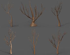 3D model Cartoon Stylized Tree Trunk Set - 6 Piece