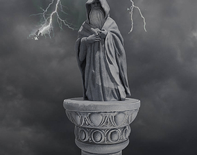 Magician wizard statue and column fairy 3D