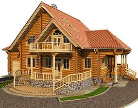 Log house - rounded log facade 3D model
