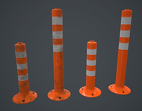Traffic Bollard PBR Game Ready 3D asset