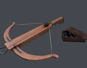 Pack crossbow bomb box Low-poly 3D asset