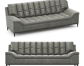 Leather long stationary gray sofa Hooker 3D model