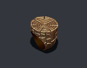 3D print model ring with tree texture