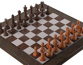 3D asset realtime wooden chess