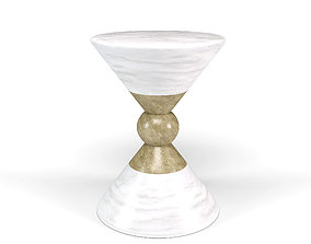 Modern Round White and Gold Side Table 3D