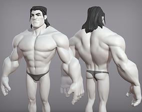 Cartoon male character Sam base mesh hero 3D model