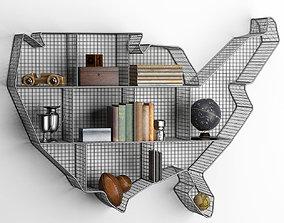 3D model SHELF USA MAP ZINC
