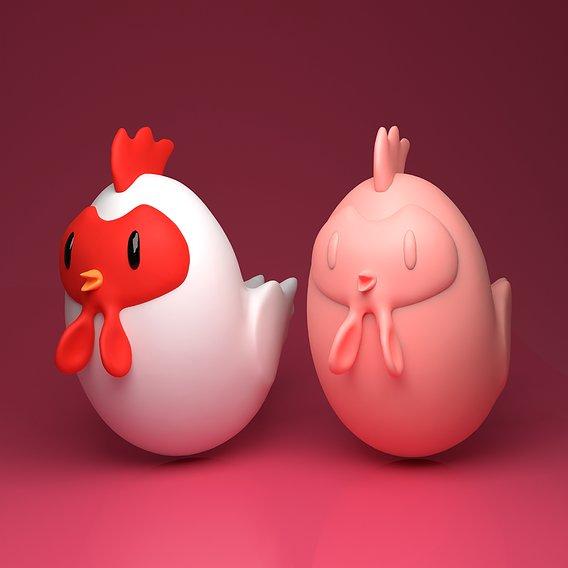 Cartoon Chicken - Free 3D Printable Model