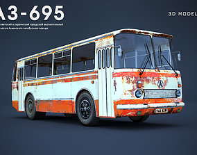 Old rusty city bus LAZ 695 low-polygon 3D model low-poly