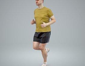Sporty Running Man Wearing Yellow T-Shirt 3D model 1