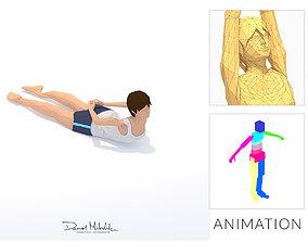 3D model Half Locust Yoga Exercise Woman Animation