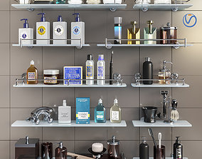 3D Set of cosmetics accessories and shelves for the 2