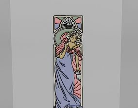 3D Stained Glass with a Woman