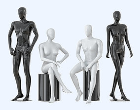 Four faceless mannequins two male and two female 3D model