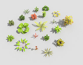 3D model game-ready low poly plants collection