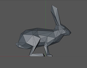 low poly 3D model of a rabbit animal