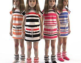 Girl dress t shirt skirt Baby clothes top 3D model