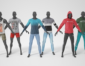 Male mannequin with clothes A-pose 3D