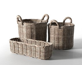 Wicker Basket Set 3D