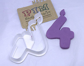 4 inches candle number 4 cookie cutter 3D print model