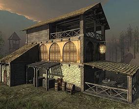 3D model low-poly Medieval Tavern