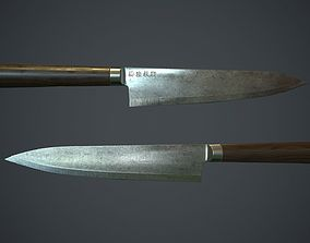 3D model Damascus Kitchen Knife PBR Game Ready