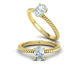 Rope design Engagement ring Oval Stone 3D print model 1