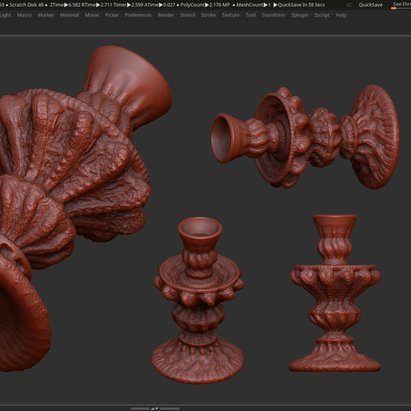 classic candlestick 3dprint and low poly model PBR Low-poly 3D model