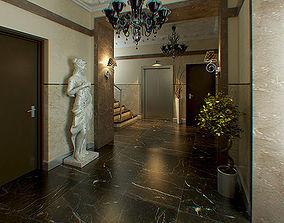 Hall Lobby decorated interior full scene 3D