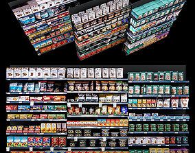 Shelves with goods 3D
