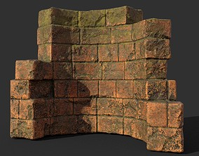 Low poly Terracotta Ruin Medieval Construction 11 3D model