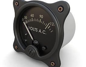 Vintage AC Voltmeter 3D model
