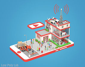 Cartoon Office on phone screen Low Poly 3D asset