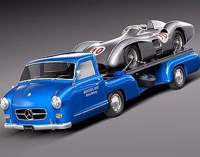 3D Mercedes Renntransporter 1954 Combo with grand prix car