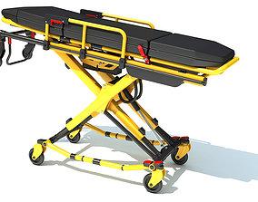 Ambulance Unfolded Gurney Stretcher 3D