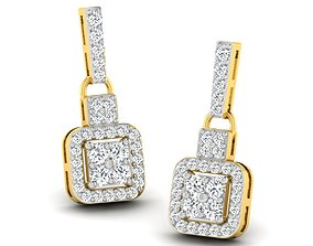 gold wedding luxury Women earrings 3dm render detail
