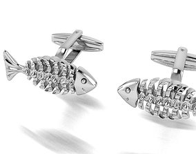 3D print model Fish skeleton cufflinks