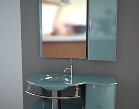 3D Glass wash-basin with cabinets mirror and lamp -