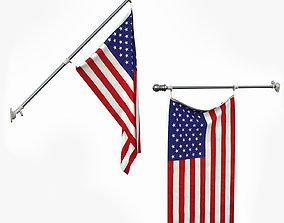USA Flag and flagpole 3D
