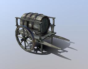 3D model realtime Medieval Barrel Cart
