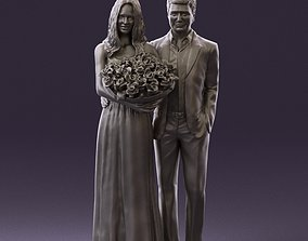 Man and woman in eve dresses bouquet flowers 0868 3D 1