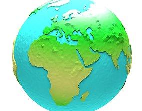 3D asset Cartoon low poly Earth 2