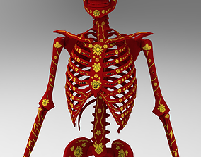 3D model rigged Skeleton in chochloma paint