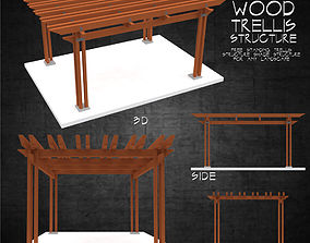 Wood trellis free standing shade structure for 3D asset