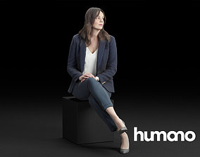 Humano Elegant Business Woman in suit Sitting 3D model 2