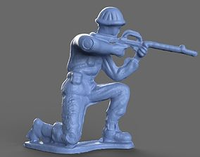 Green Army Men Crouch M16 3D model