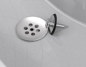 Popup plug for bathroom sink 3D