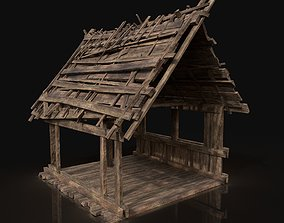 3D asset Wooden Roofing Cover Construction - Reed Hay 2