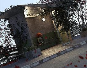 3D model Soviet Bus Stop Forlorn