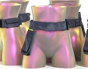 3D asset Black Leather Pocket Belt 16
